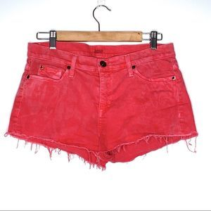 Hudson Red Cut Off White Washed Jean Shorts